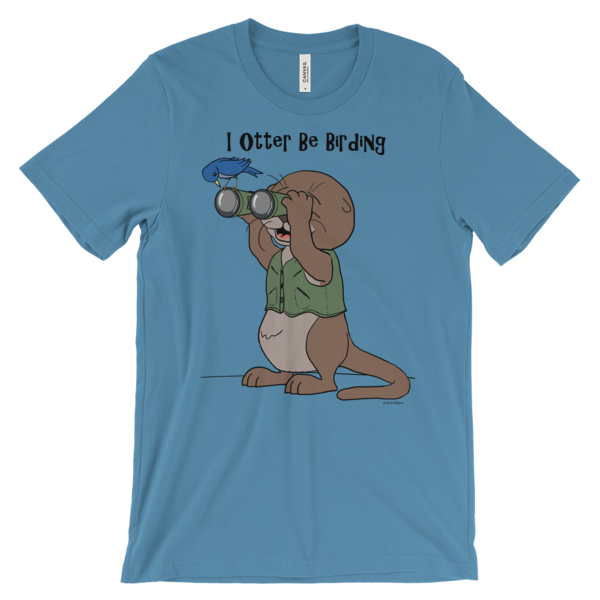 I Otter Be Birding Ocean Blue T-shirt