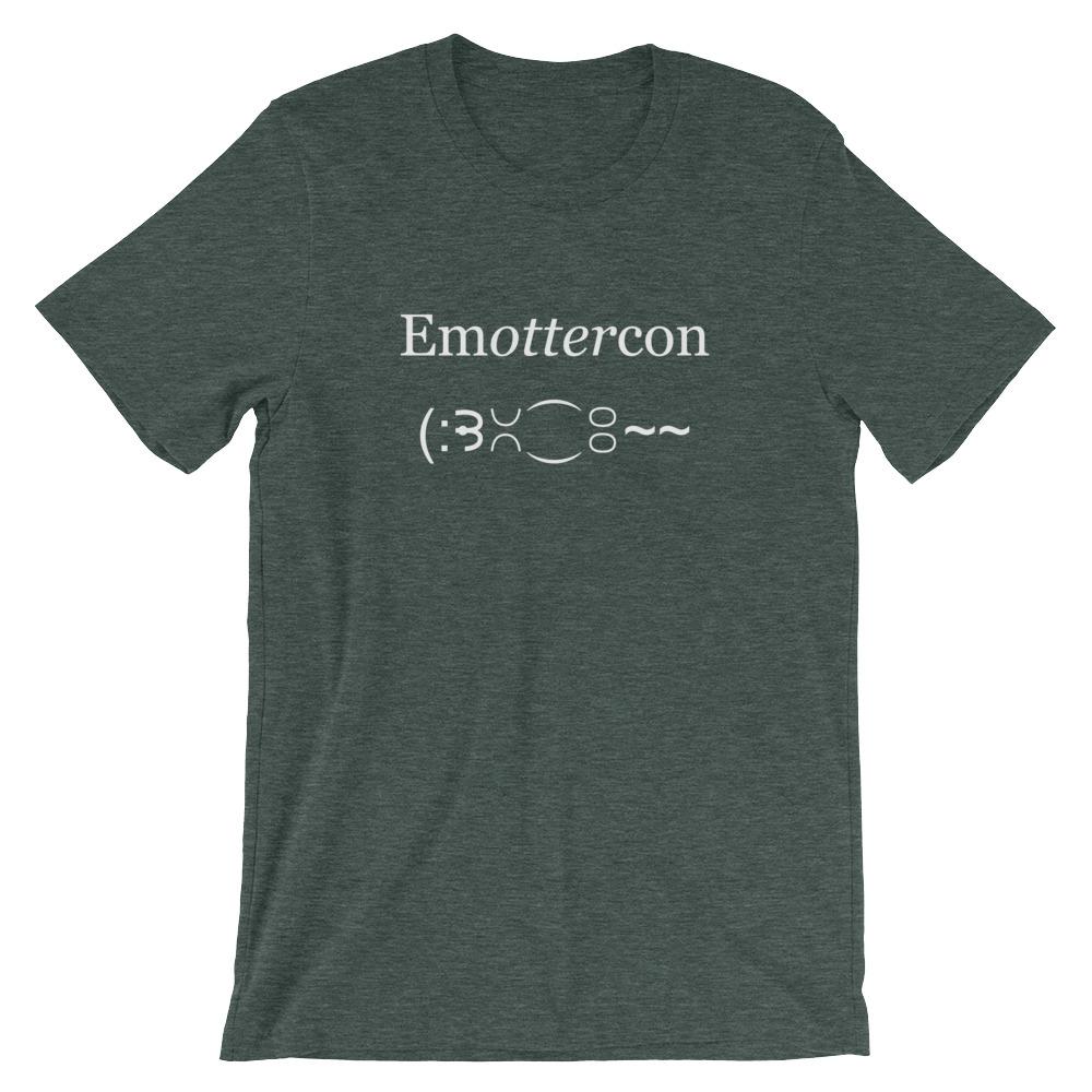 Emottercon2-Unisex T-Shirt-White_mockup_Front_Wrinkled_Heather-Forest