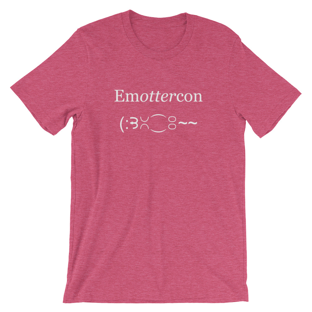 Emottercon2-Unisex T-Shirt_White_mockup_Front_Wrinkled_Heather-Raspberry