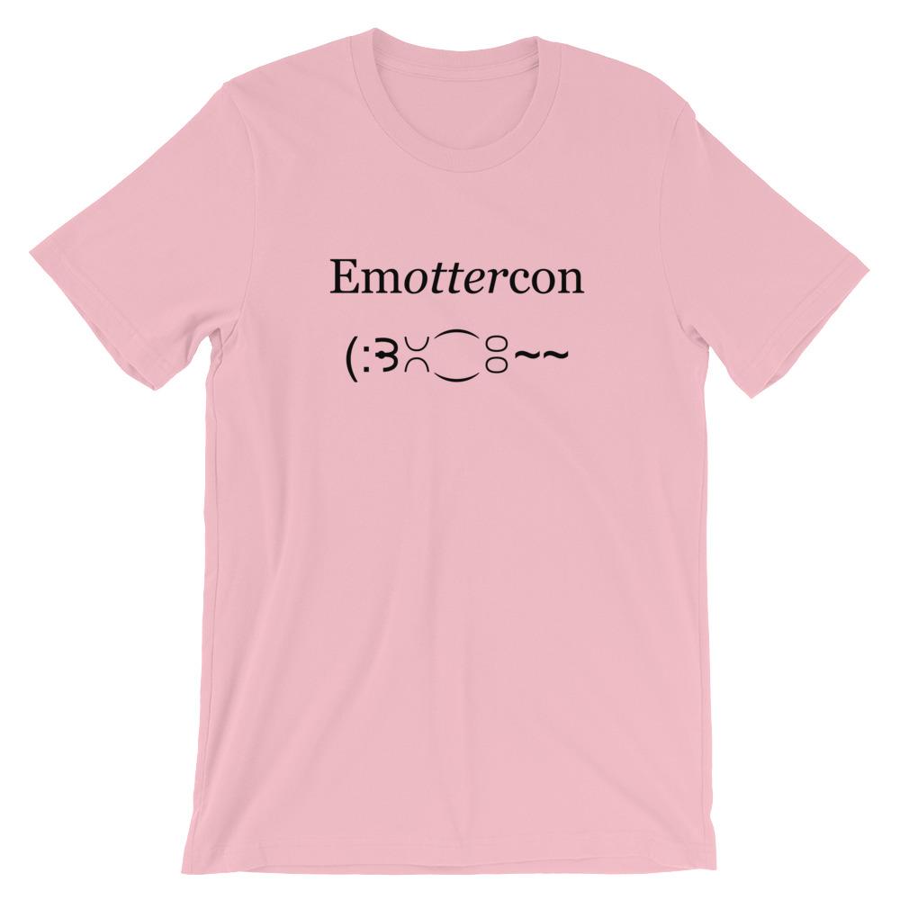 Emottercon2-Unisex T-Shirt_mockup_Front_Wrinkled_Pink