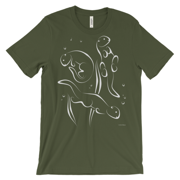 Otters Swimming Olive T-shirt