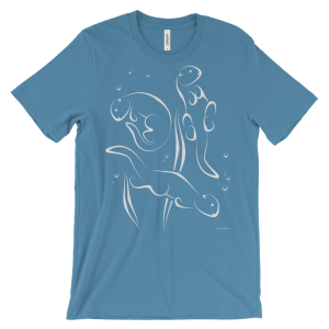 Otters Swimming Ocean Blue T-shirt