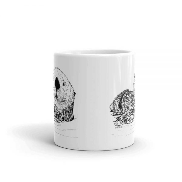 Pen & Ink Sea Otter Head Mug mockup_Front-view_11oz