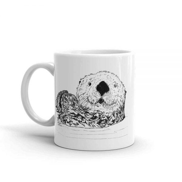 Pen & Ink Sea Otter Head Mug mockup_Handle-on-Left_11oz