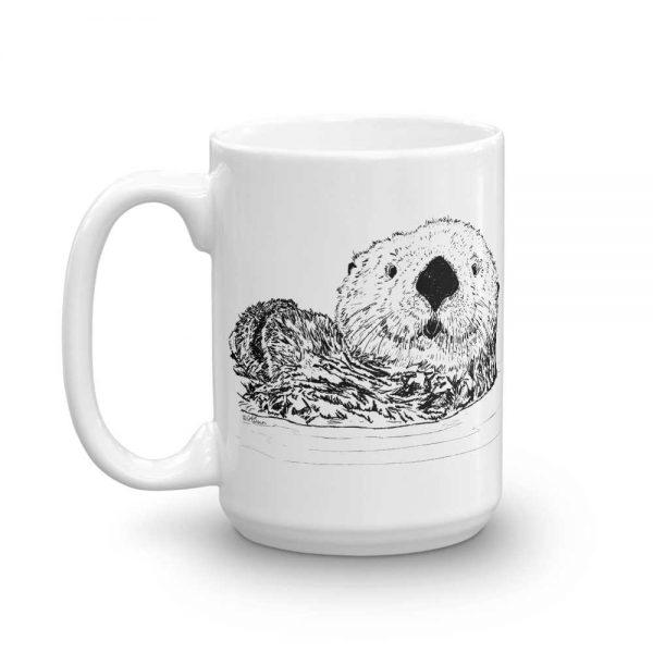 Pen & Ink Sea Otter Head Mug mockup_Handle-on-Left_15oz