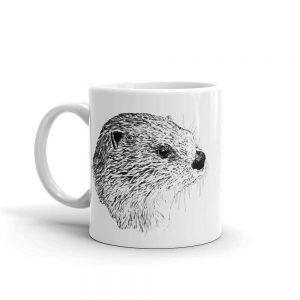 Pen & ink River otter Head Mug mockup_Handle-on-Left_11oz