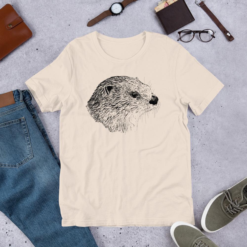 Pen & Ink River Otter Head Unisex T-Shirt_mockup_Front_Flat-Lifestyle_Soft-Cream