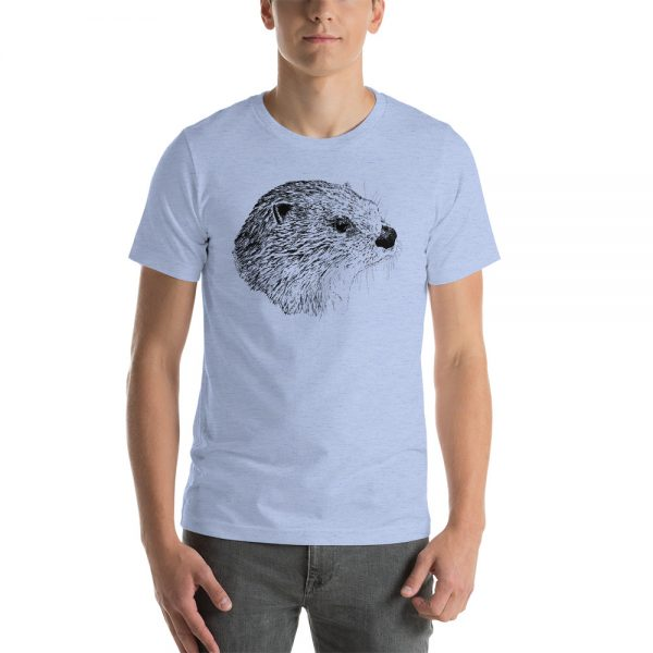 Pen & Ink River Otter Head Unisex T-Shirt_mockup_Front_Mens_Heather-Blue