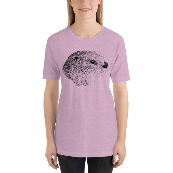 Pen & Ink River Otter Head Unisex T-Shirt_mockup_Front_Womens_Heather-Prism-Lilac