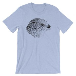 Pen & Ink River Otter Head Unisex T-Shirt_mockup_Front_Wrinkled_Heather-Blue