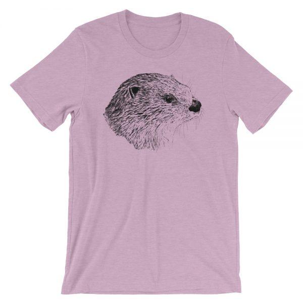 Pen & Ink River Otter Head Unisex T-Shirt_mockup_Front_Wrinkled_Heather-Prism-Lilac