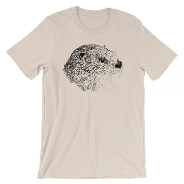 Pen & Ink River Otter Head Unisex T-Shirt_mockup_Front_Wrinkled_Soft-Cream