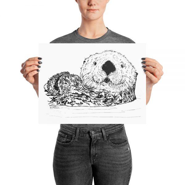 Pen & Ink Sea Otter Head Poster with Person Mockup 12x16 in