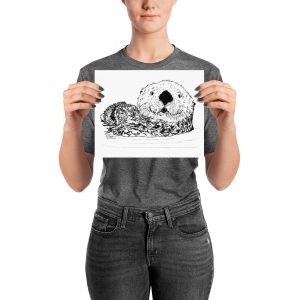 Pen & Ink Sea Otter Head Poster with Person Mockup 8x10 in