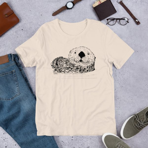 Sea-Otter-Pen-Ink-Unisex T-Shirt_mockup_Front_Flat-Lifestyle_Soft-Cream
