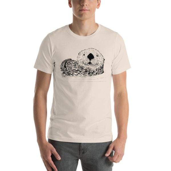 Sea-Otter-Pen-Ink-Unisex T-Shirt_mockup_Front_Mens_Soft-Cream