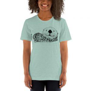 Sea-Otter-Pen-Ink-Unisex T-Shirt_mockup_Front_Womens-2_Heather-Prism-Dusty-Blue