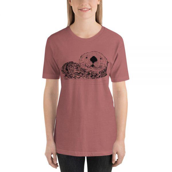 Sea-Otter-Pen-Ink-Unisex T-Shirt_mockup_Front_Womens_Mauve