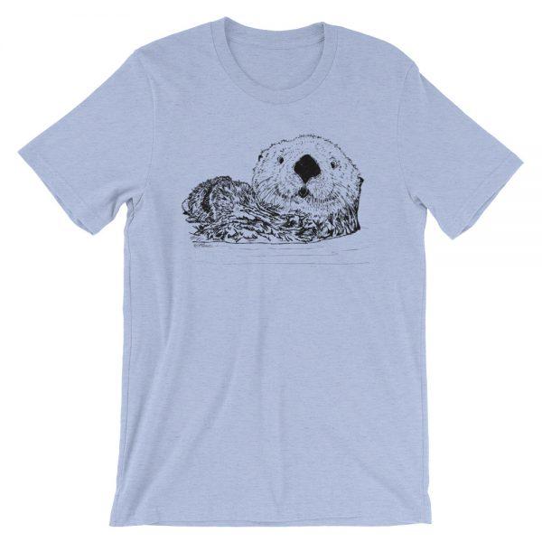 Sea-Otter-Pen-Ink-Unisex T-Shirt_mockup_Front_Wrinkled_Heather-Blue