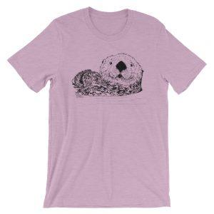Sea-Otter-Pen-Ink-Unisex T-Shirt_mockup_Front_Wrinkled_Heather-Prism-Lilac