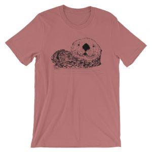 Sea-Otter-Pen-Ink-Unisex T-Shirt_mockup_Front_Wrinkled_Mauve