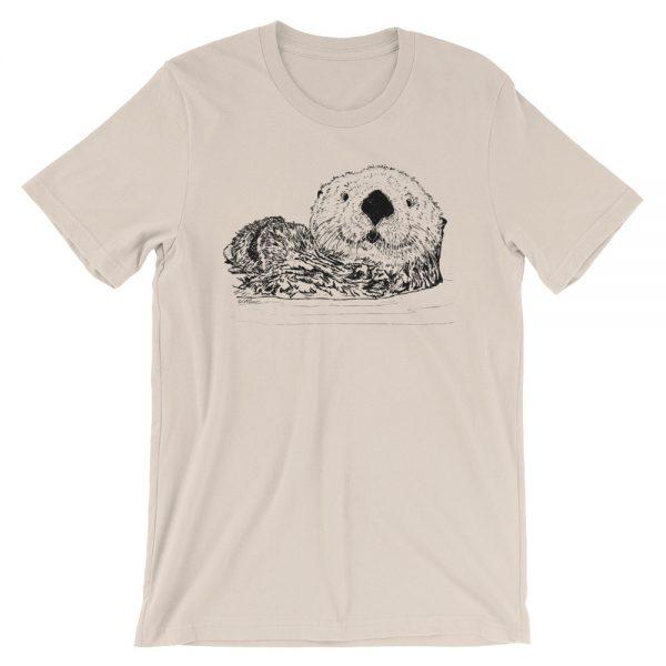 Sea-Otter-Pen-Ink-Unisex T-Shirt_mockup_Front_Wrinkled_Soft-Cream