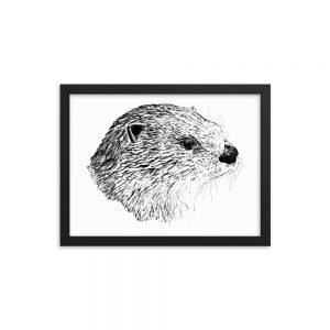 Pen & Ink River Otter Head Black Framed Poster Mockup 12x16 in