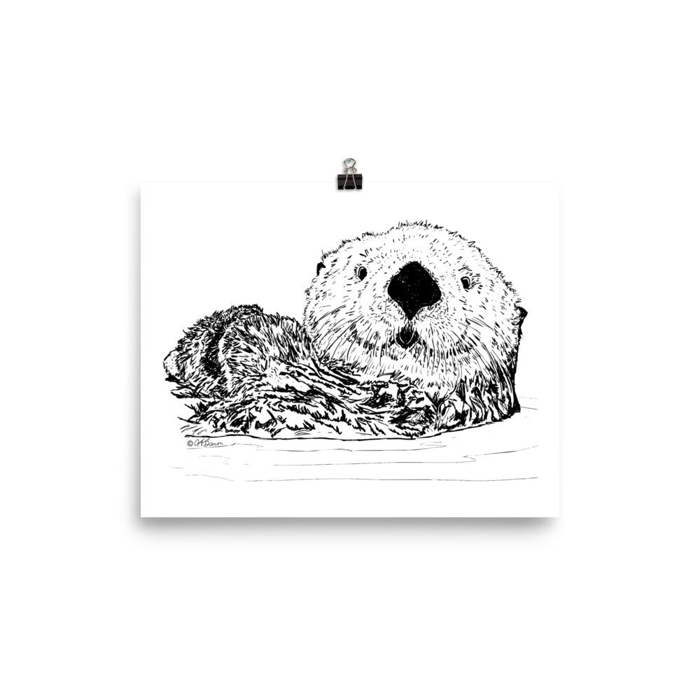 Pen & Ink Sea Otter Head Poster Mockup 8x10 in