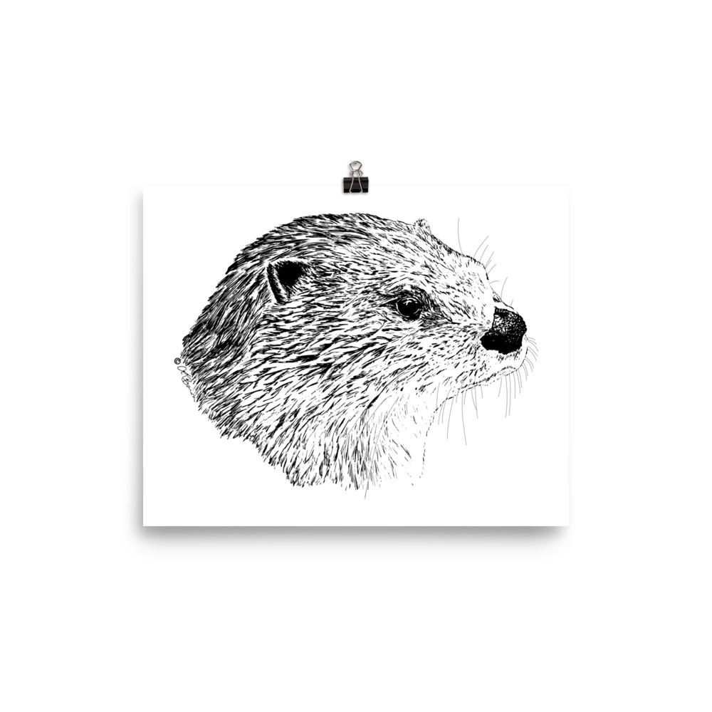 Pen & Ink River Otter Head Poster Mockup 8x106 in