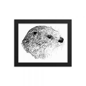 Pen & Ink River Otter Head Framed Poster Mockup 8x10 in