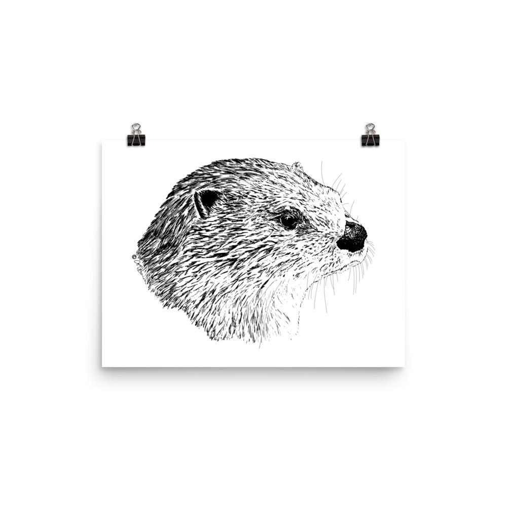 Pen & Ink River Otter Head Poster Mockup 12x16 in