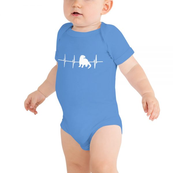 Otter Heartbeat Onesie on baby in Heather Columbia Blue